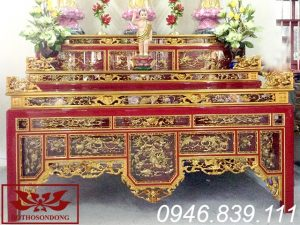 ô xa thờ gỗ mít sơn son thếp vàng tại chùa