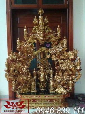 tòa cửu long bằng gỗ đẹp sơn son thếp vàng ms09