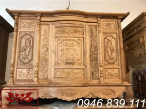 tủ thờ gỗ gụ chạm tứ linh ms05