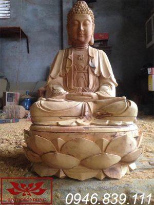 tượng phật a di đà gỗ mít để mộc ms20