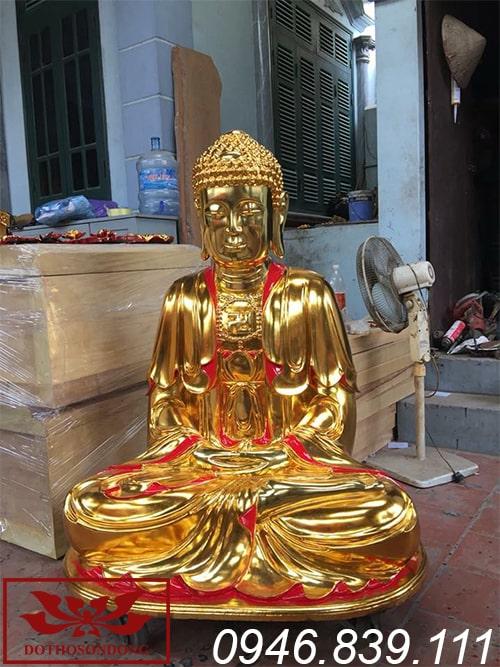 Mẫu tượng phật a di đà chất liệu gỗ mít sơn son thếp vàng ms06