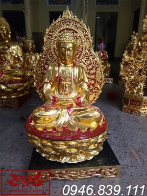 Mẫu tượng phật a di đà chất liệu gỗ mít sơn son thếp vàng ms08