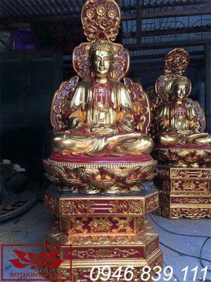 Mẫu tượng phật a di đà ngồi đài sen chất liệu gỗ mít sơn son thếp vàng ms10