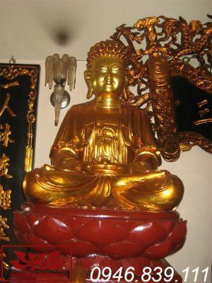Mẫu tượng phật a di đà ngồi đài sen chất liệu gỗ mít sơn son thếp vàng ms17