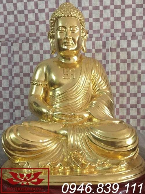 tượng phật a di đà gỗ mít sơn son thếp vàng ms18