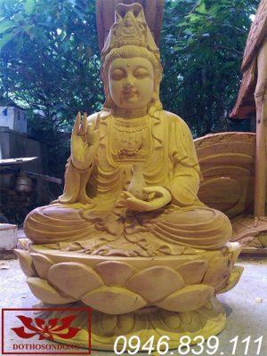 tượng phật bà quan âm gỗ mít cao 50cm