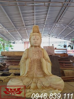 tượng phật bà quan âm gỗ mít cao 1m27