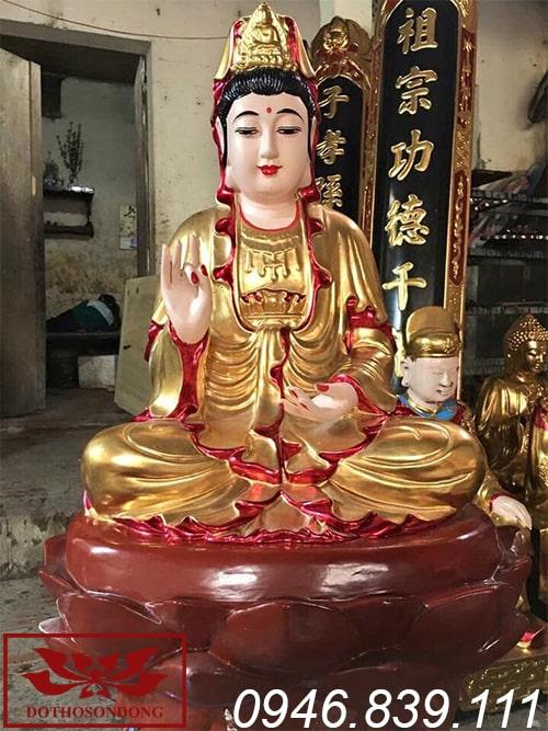 tượng phật bà quan âm gỗ mít sơn son thếp vàng ms08