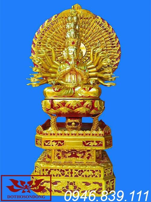 tượng phật thiên thủ thiên nhãn bằng gỗ mít sơn son thếp vàng ms05