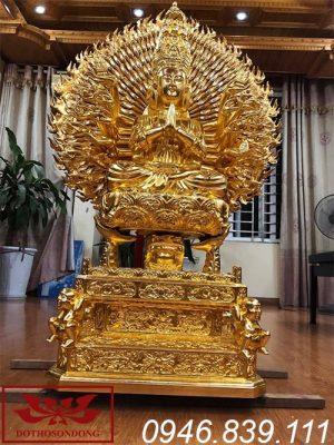 tượng phật thiên thủ thiên nhãn bằng gỗ mít sơn son thếp vàng ms06
