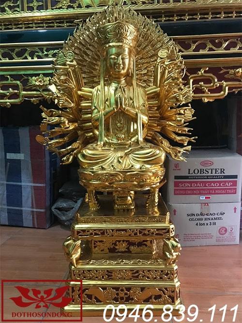tượng phật thiên thủ thiên nhãn bằng gỗ mít sơn son thếp vàng ms07