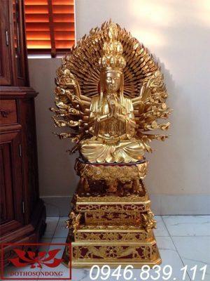 tượng phật thiên thủ thiên nhãn gỗ mít sơn son thếp vàng ms01