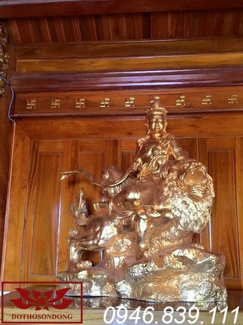 tượng văn thù sư lợi bồ tát thếp vàng ms05