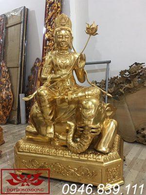 tượng phật phổ hiền bồ tát sơn son thếp vàng ms02