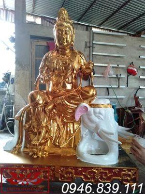 tượng phổ hiền bồ tát chất liệu gỗ mít sơn son thếp vàng ms01
