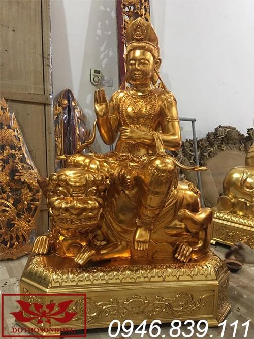 tượng phật văn thù sư lợi bồ tát bằng gỗ sơn son thếp vàng ms02