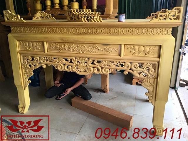 bàn thờ án gian gỗ mít chạm như ý ms17