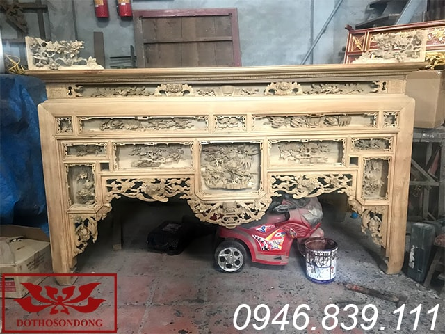bàn thờ ô xa gỗ dổi để mộc ms16
