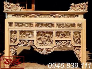 bàn thờ ô xa gỗ mít để mộc ms17