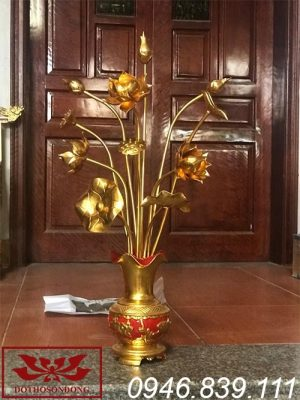 hoa sen gỗ mít sơn son thếp vàng ms01