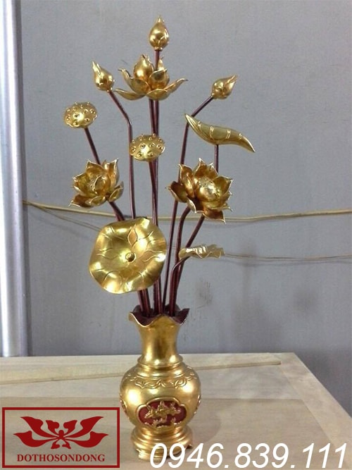 hoa sen gỗ mít sơn son thếp vàng ms02