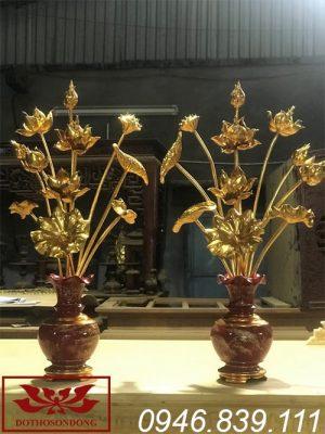 hoa sen gỗ mít sơn son thếp vàng ms05