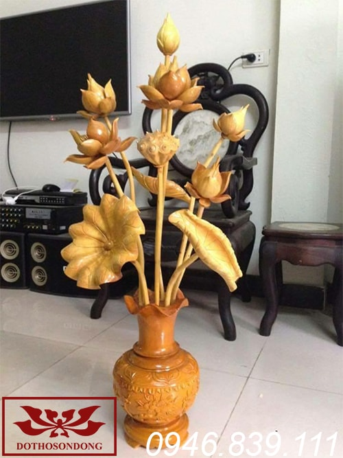 hoa sen gỗ mít sơn Pu ms07