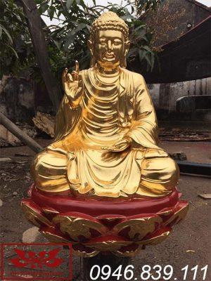 Tượng phật thích ca mâu ni bằng gỗ mít sơn son thếp vàng ms17