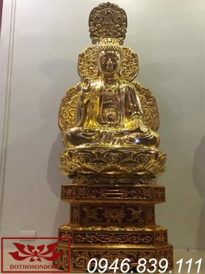 Tượng phật thích ca mâu ni bằng gỗ mít sơn son thếp vàng ms21