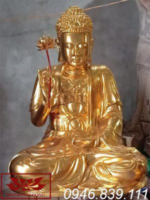 Tượng phật thích ca mâu ni bằng gỗ mít sơn son thếp vàng ms24