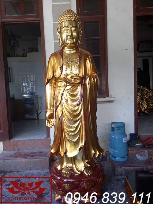 Tượng phật thích ca mâu ni bằng gỗ mít sơn son thếp vàng ms25