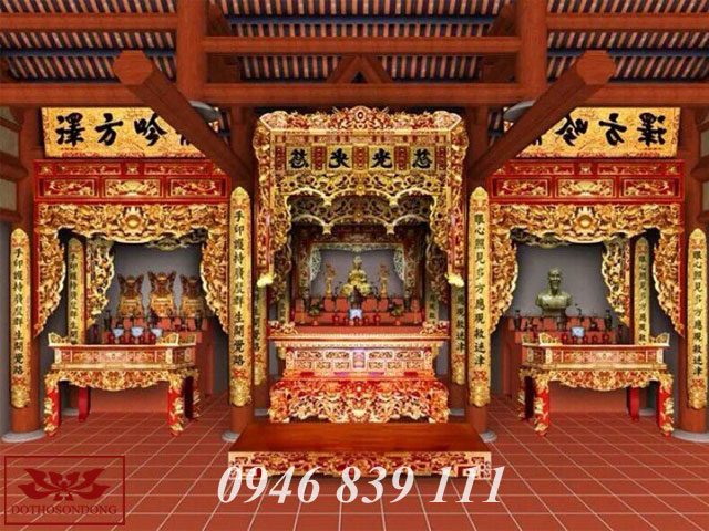mẫu thiết kế nội thất đình chùa 02