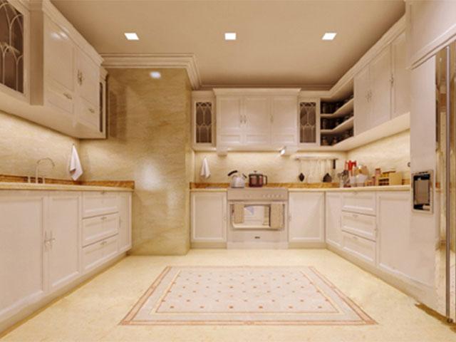 nội thất phòng bếp dát vàng
