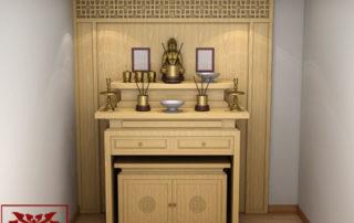 mẫu bàn thờ phật chung với gia tiên 02