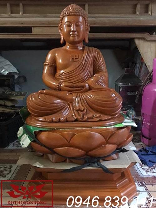tượng phật a di đà ngồi đài sen chất liệu gỗ mít sơn pu ms28