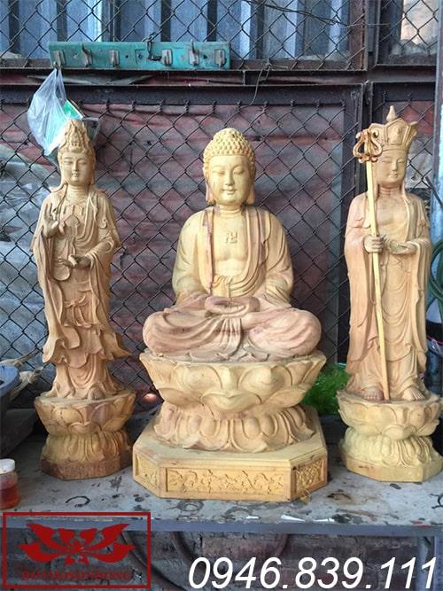 tượng phật a di đà ngồi đài sen chất liệu gỗ mít ms30