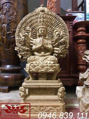 tượng phật thiên thủ thiên nhãn bằng gỗ mít ms15