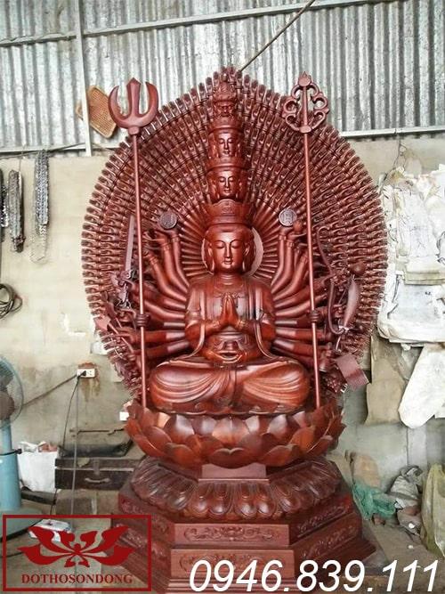 tượng phật thiên thủ thiên nhãn bằng gỗ mít sơn PU ms20