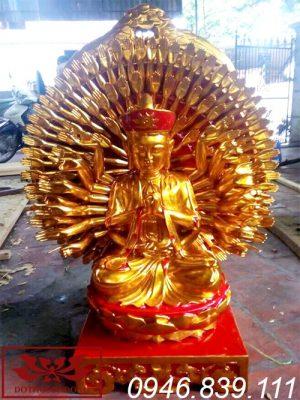tượng phật thiên thủ thiên nhãn bằng gỗ mít sơn son thếp vàng ms22